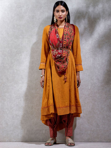 Mustard Yellow High-Low Kurta Set