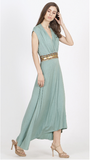 Green & Gold Embellished High-Low Dress