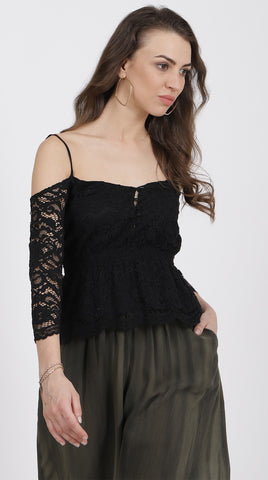 BLACK COLD SHOULDER NET TOP