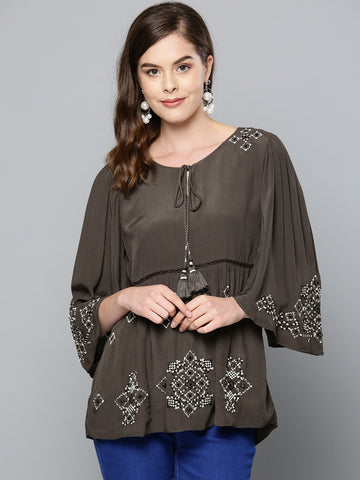 Anthra Grey Beaded Top