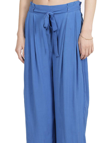 Blue Crepe Tie-Up Trouser