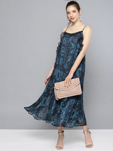 Midnight Blue Printed Long Dress