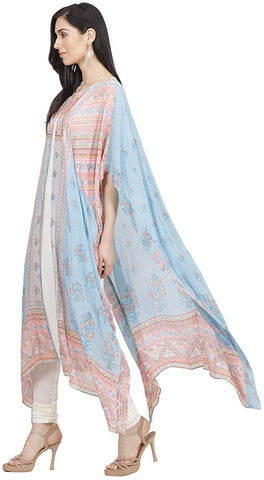 Soft Pink & Cream Chanderi Silk Printed Kaftan