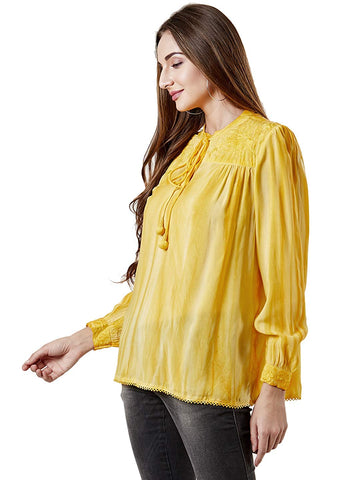 Yellow Embroidered Kurti