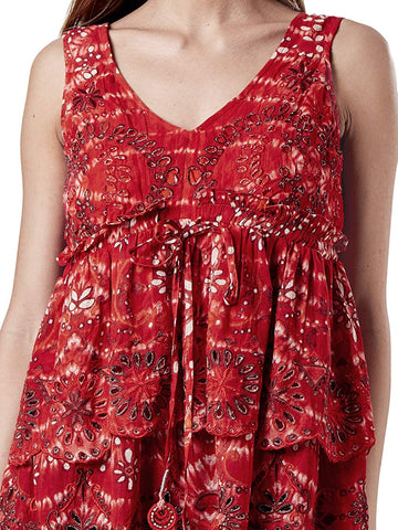 Red Layered Schiffly Short Top
