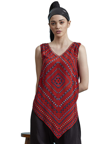 Red Asymmetric Geometric Printed Top