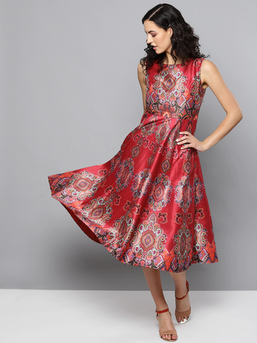 Red Printed Midi Dress