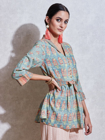 Green Printed Kurti Top With Tie-Up