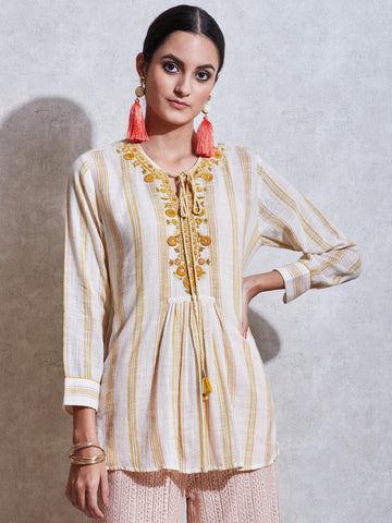 Ecru Embroidered Cotton Kurti