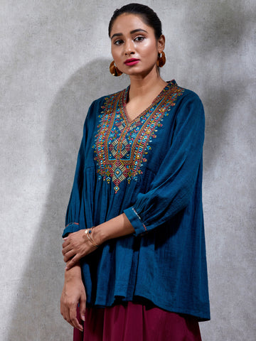 Blue Embroidered Flared Kurti