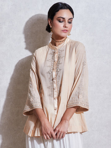 Beige Embroidered Kurti