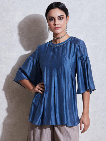 Blue Pleated Kurti