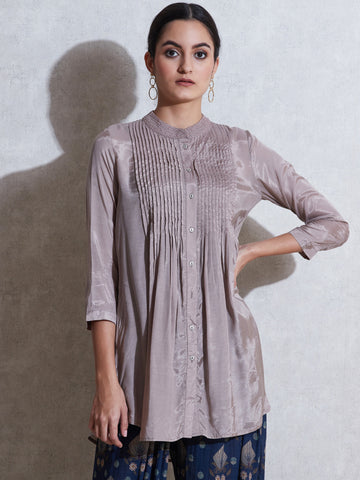 Grey Pleated Button-Down Kurti