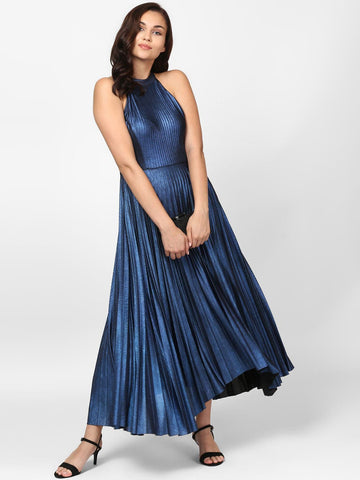 Blue Pleated Metallic Dress