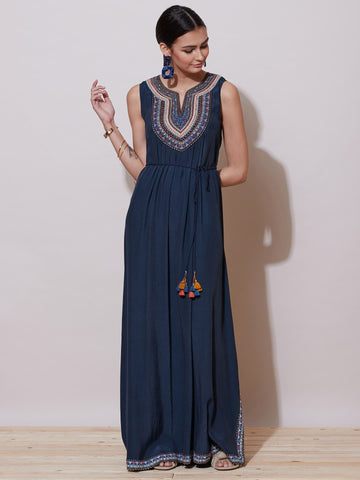 Navy Blue Tie-Up Long Dress