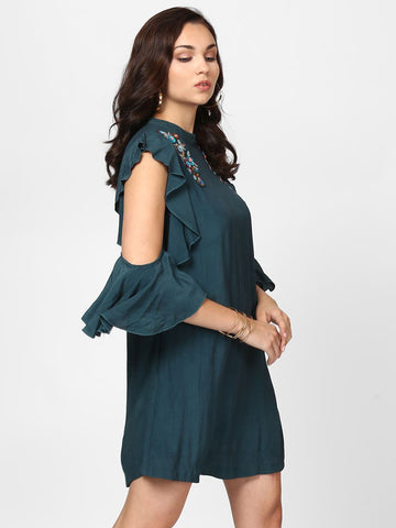 Teal Embellished Ruffle Sleeve Dress