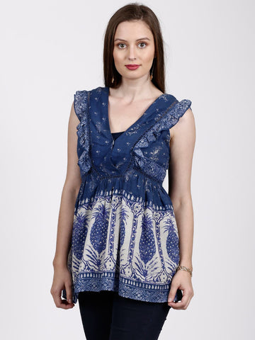 Printed Navy Blue Frill Top