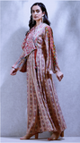 Beige Printed Wrap-Up Kurta Dress