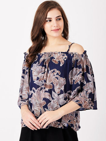 Women Navy Blue & Grey Printed A-Line Top
