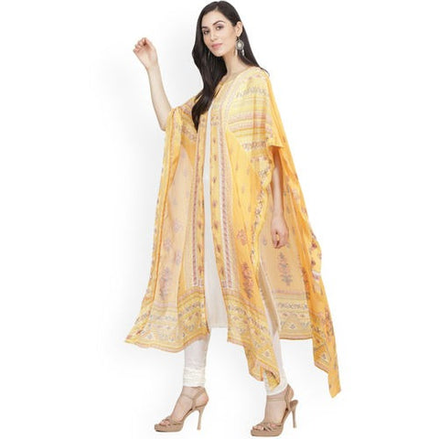 Yellow & White Chanderi Silk Printed Kaftan
