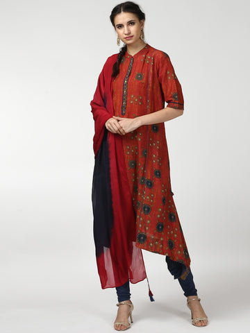 Red & Teal Printed Kurta with Churidar & Dupatta