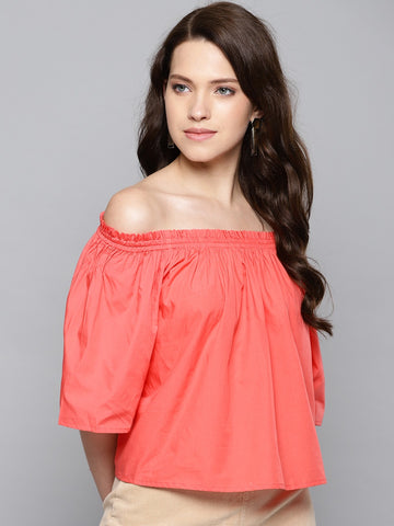Coral Paper Poplin Off-Shoulder Top