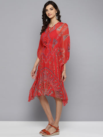 Red Printed Kaftan Dress With Camisole