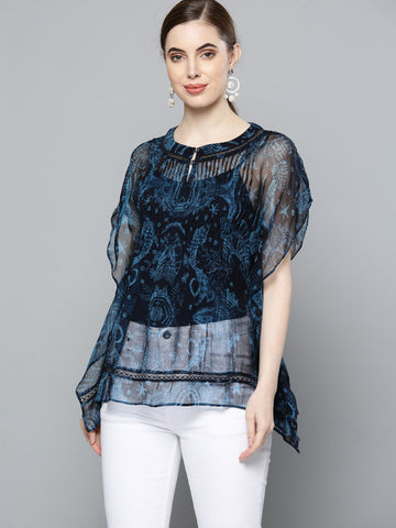 Midnight Blue Printed Top