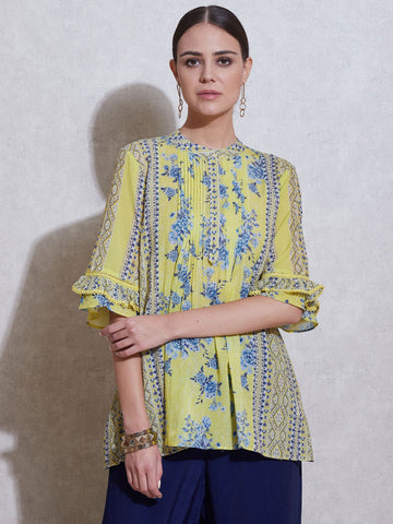 Lemon Yellow Printed Kurti
