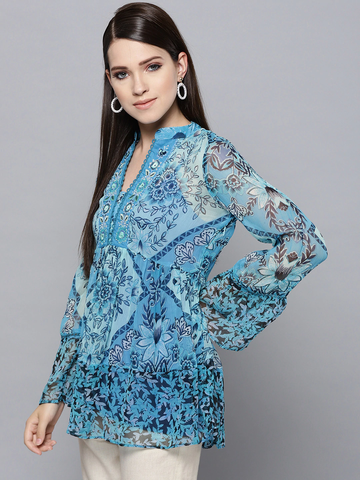 Blue Paisley Tie-Up Top