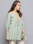Green Embroidered Detail A-Line Kurti