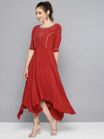 Red Asymmetrical Embroidered Dress With Inner