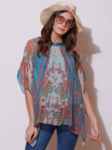 Denim Blue Printed Kaftan Top