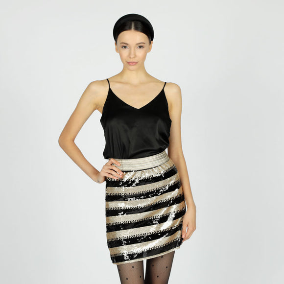 LE VOLIERE - Gonna con paillettes oro e nere//Black&gold sequins skirt