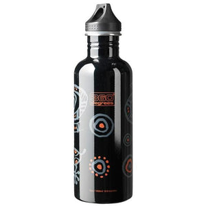 360 Degrees 1000ml Stainless Steel Drink Canteen - Gecko Black