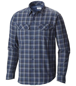Columbia Mens Silver Ridge Plaid Long Sleeve Shirt - Night Tide