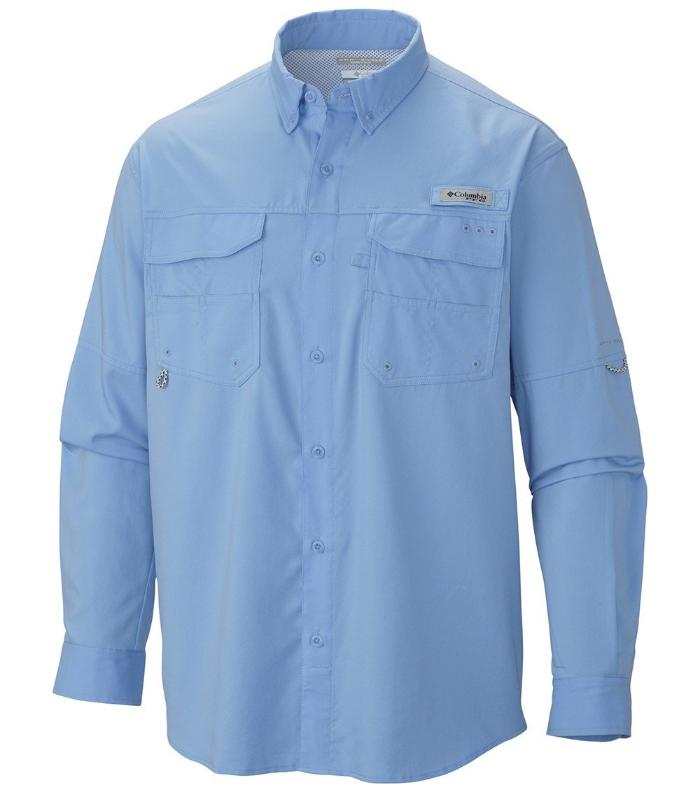 01b750c5d4b Columbia Mens PFG Blood & Guts III Long Sleeve Woven Shirt, Front -  Whitecap ...