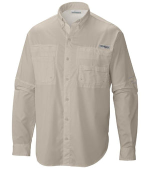 Columbia Mens PFG Tamiami II Long Sleeve Shirt, Front - Fossil