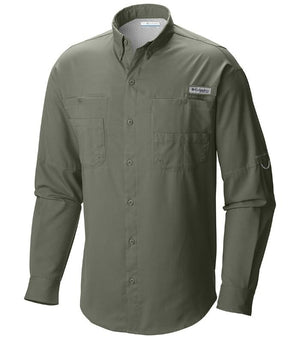 Columbia Mens PFG Tamiami II Long Sleeve Shirt, Front - Cypress