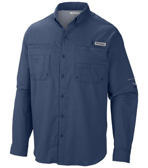 Columbia Mens PFG Tamiami II Long Sleeve Shirt, Front - Blue Herron