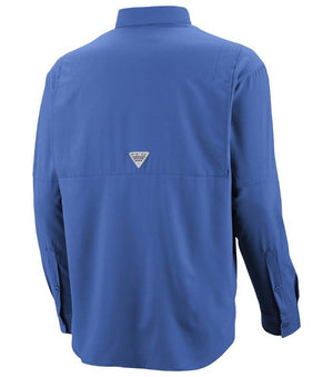 Columbia Mens PFG Tamiami II Long Sleeve Shirt, Rear - Vivid Blue