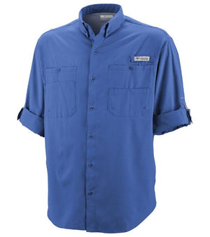 Columbia Mens PFG Tamiami II Long Sleeve Shirt, Front - Vivid Blue