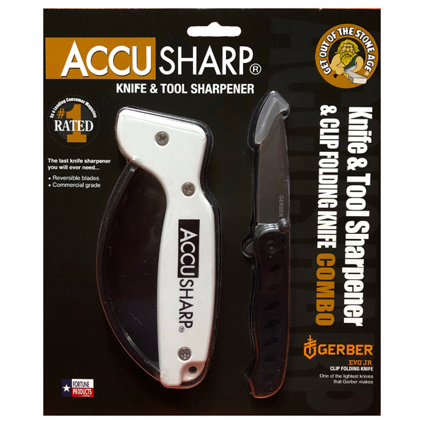Accusharp Knife & Tool Sharpener & Gerber EVO JR Knife