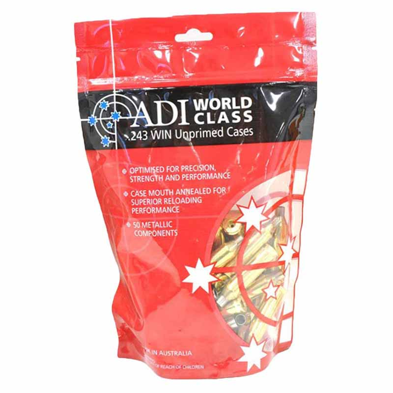 ADI 243 WIN Unprimed Brass Cases - 50 Pack