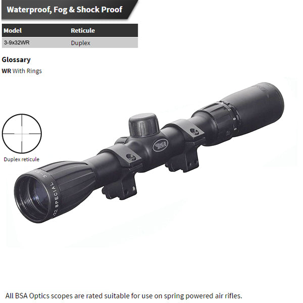 BSA S3-9x32WR .22 Special & Air Rifle Matte Rifle Scope With Mounting Kit