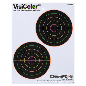 "Champion VisiColor 5"" Double Bullseye High-Visibility 50 Yard Sight-In Paper Target"