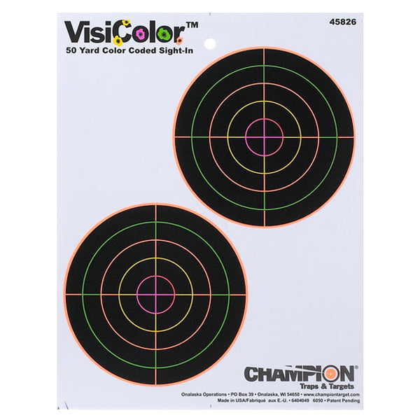 "Champion VisiColor 5"" Double Bullseye High-Visibility 50 Yard Sight-In Paper Target 