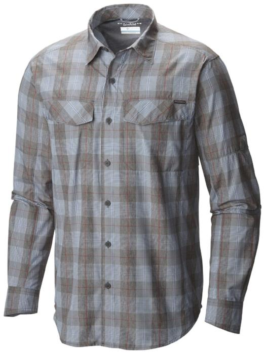 Columbia Mens Silver Ridge Plaid Long Sleeve Shirt - Steel Heathered