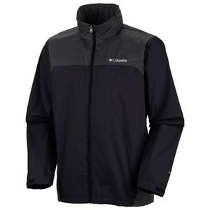 COLUMBIA Mens Glennaker Lake Waterproof Rain Jacket, Front - Black/Grill