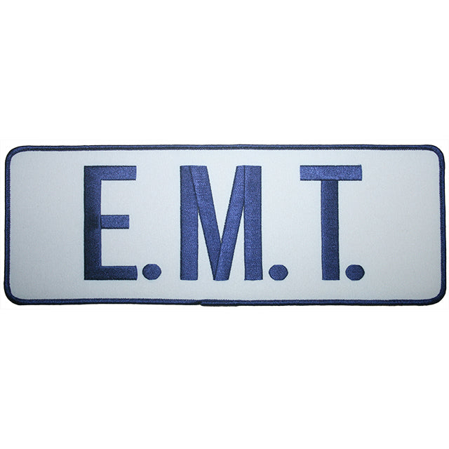 "E.M.T Back Patch 11"" x 4"" Blue On White x 1"
